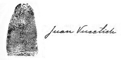 Juan Vucetich thumb print and signature